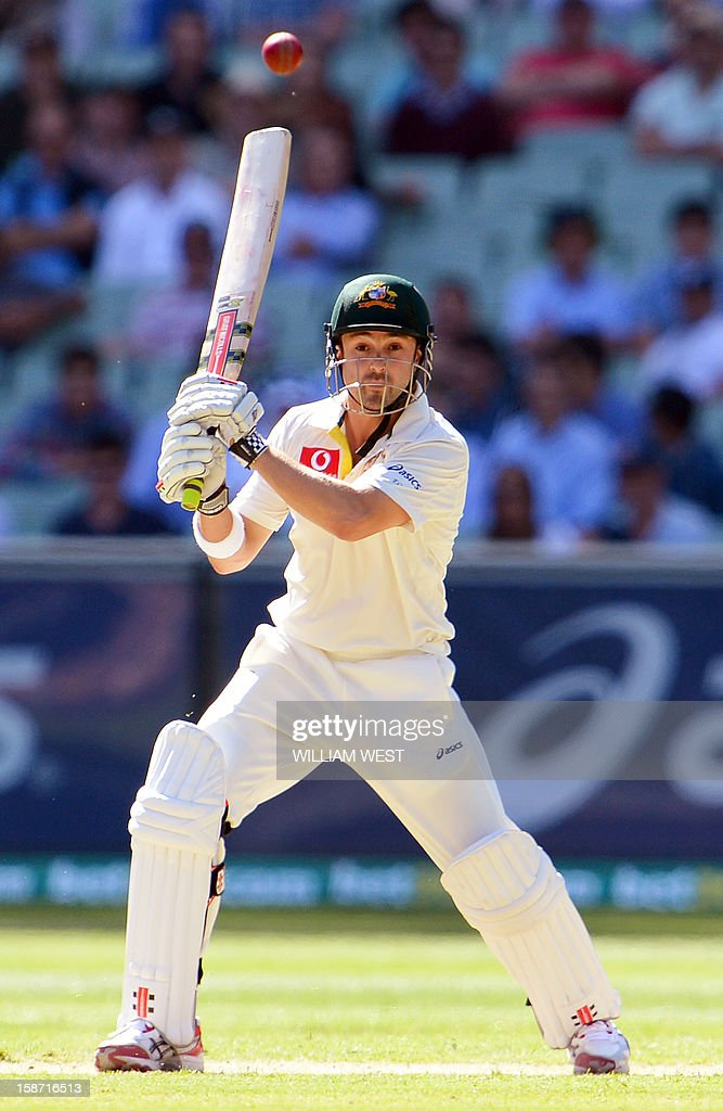 Australian batsman Ed Cowan drives a ball from the Sri Lankan bowling on the first day of the second cricket Test match at the Melbourne Cricket Ground (MCG), in Melbourne, on December 26, 2012. AFP PHOTO/William WEST IMAGE