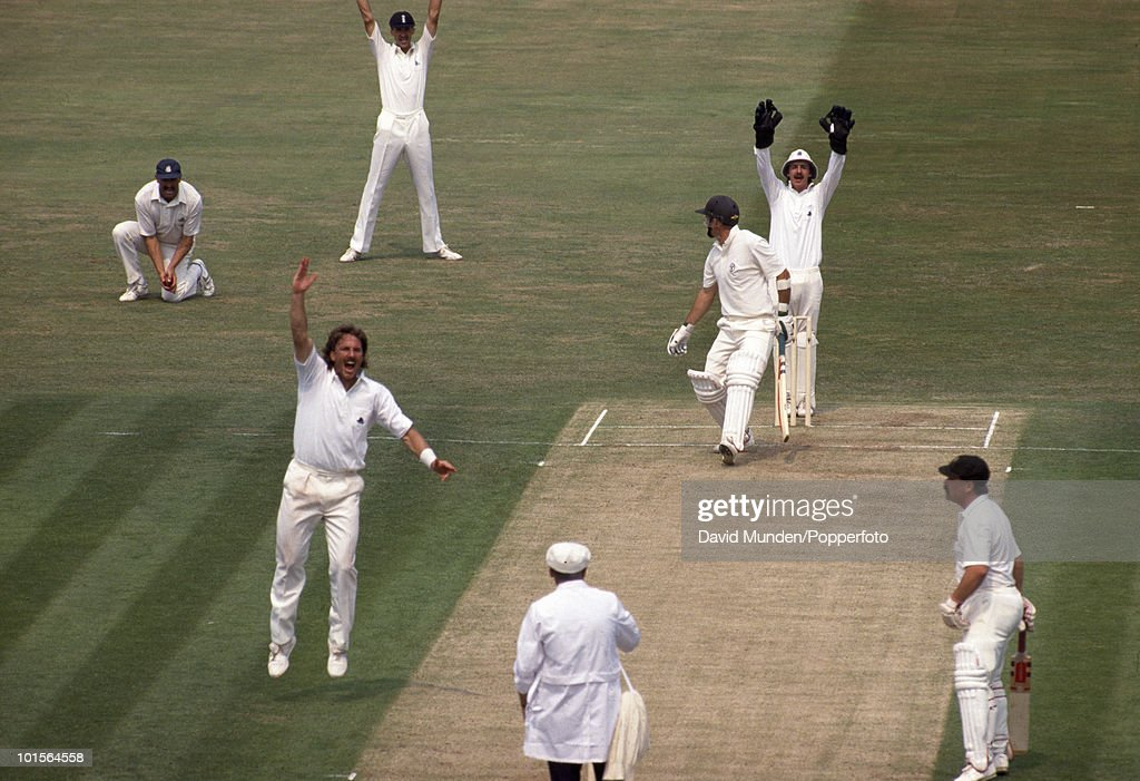 Australian batsman Geoff Marsh is out, LBW to Ian Botham for 42 on the first day of the 3rd Test match between England and Australia at Edgbaston in Birmingham, 6th July 1989. Match Drawn.