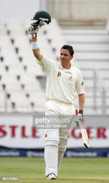 Australian batsman Marcus North celebrates after hitting a century on February 27 2009 during the second day of the first Test match between South...