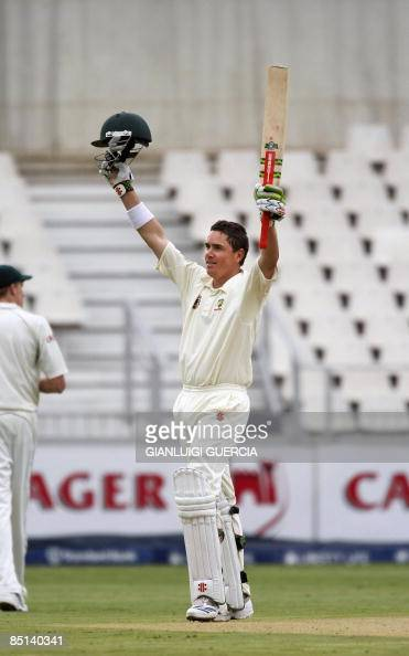 Australian batsman Marcus North celebrates hitting a century on February 27 2009 during the second day of the first test match bewteen South Africa...