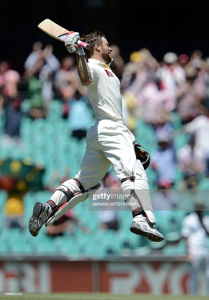 Australian batsman Matthew Wade celebrates after scoring his century (100 runs) on day three of the third cricket test match between Australia and Sri Lanka at the Sydney Cricket Ground on January 5, 2013.