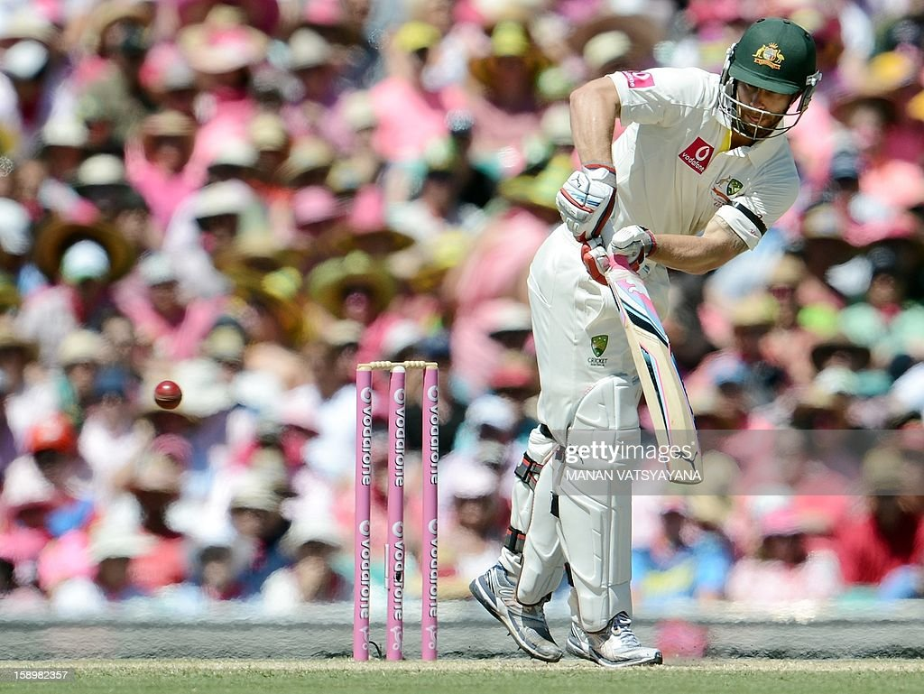Australian batsman Matthew Wade plays a shot on day three of the third cricket Test match between Australia and Sri Lanka at the Sydney Cricket Ground on January 5, 2013.