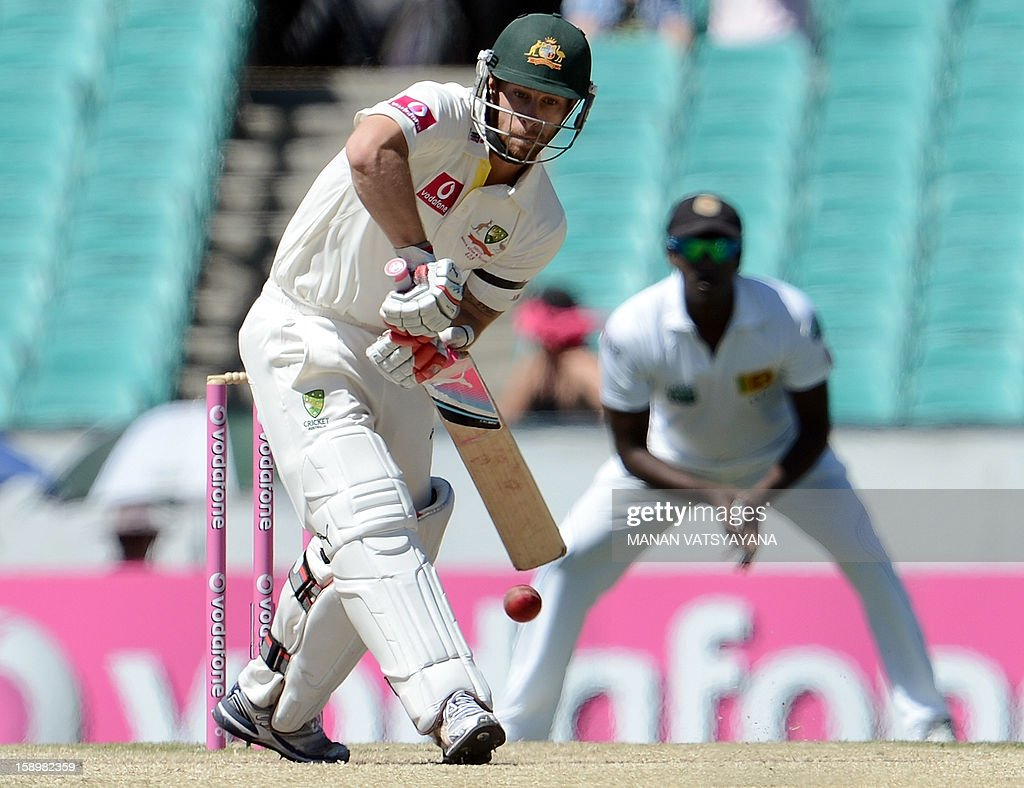 Australian batsman Matthew Wade plays a shot on day three of the third cricket Test match between Australia and Sri Lanka at the Sydney Cricket Ground on January 5, 2013. AFP PHOTO/ MANAN VATSYAYANA USE