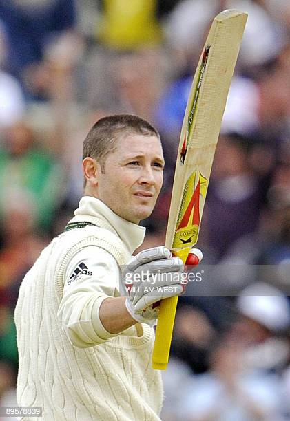 Australian batsman Michael Clarke celebrates scoring his century on the final day of the third Ashes cricket test between England and Australia at...