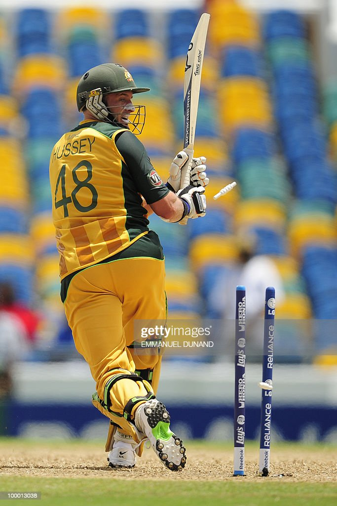 Australian batsman Michael Hussey is clean bowled during the ICC World Twenty20 Super Eight match between Australia and India at the Kensington Oval on May 7, 2010 in Bridgetown, Barbados. AFP PHOTO/Emmanuel Dunand