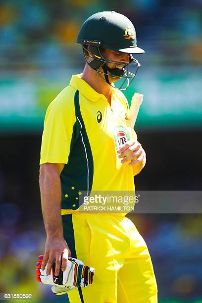 Australian batsman Mitchell Marsh laments the loss of his wicket as he departs during the oneday international cricket match between Pakistan and...