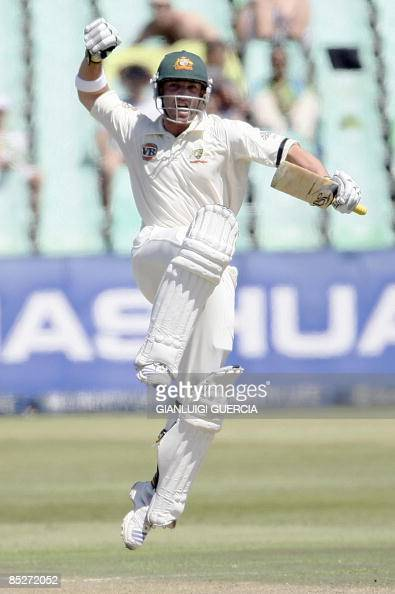 Australian batsman Phillip Hughes celebrates after hitting a century on March 6 2009 during the first day of the second test match bewteen South...