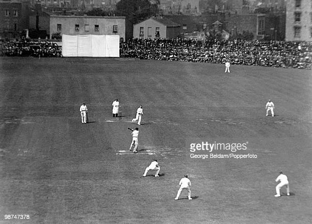 Australian batsman Victor Trumper playing and missing a ball during the 5th Test match between England and Australia at the Oval cricket ground in...
