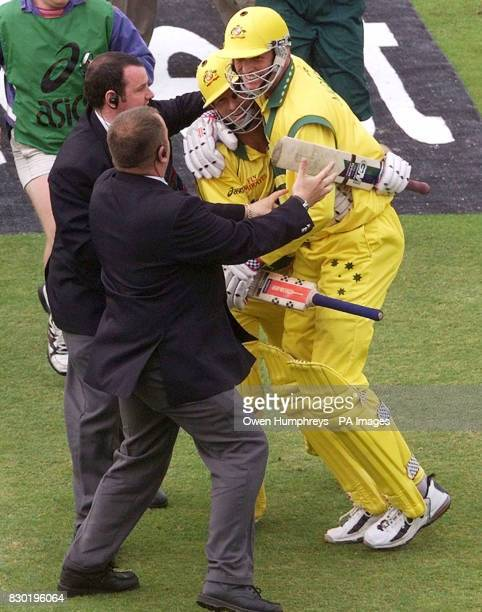 Australian batsmen Steve Waugh and Tom Moody celebrate their win over South Africa in their Cricket World Cup Super Six match at Headingley Leeds