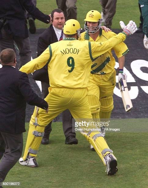 Australian batsmen Steve Waugh and Tom Moody celebrate their win over South Africa in their Cricket World Cup Super Six at Headingley Leeds