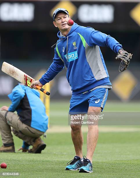 Australian batting coach Graeme Hick is seen in the warm up session during day three of the Second Test match between Australia and South Africa at...