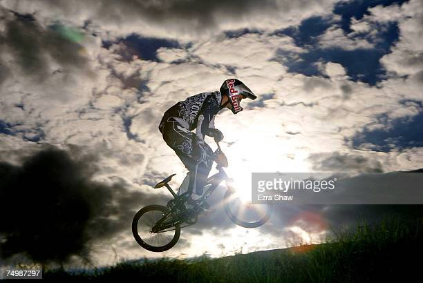 Australian BMX rider Luke Madill practices at Sydney Olympic Park on May 21 2007 in Sydney Australia BMX which stands for Bicycle Motorcross will...