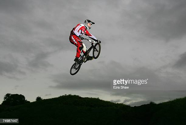 Australian BMX rider Michael 'Tiger' Robinson goes over a jump on June 9 2007 in Lake MacQuarie City Australia BMX which stands for Bicycle...
