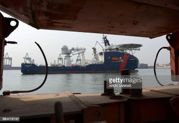 Australian Border Force Cutter 'Ocean Shield' arrives at port in the Indian city of Chennai on May 18 2017 Australian Border Force ship 'Ocean...