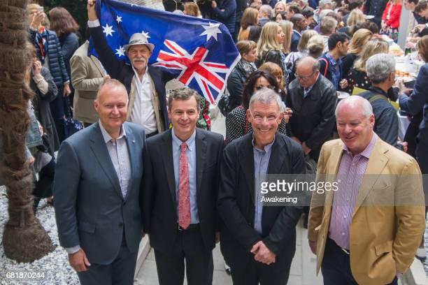 Australian born artist Andrew Rogers Gerak Vaughn director of National Gallery of Victoria Australian ambassador in Italy and Rupert Myer pose for a...