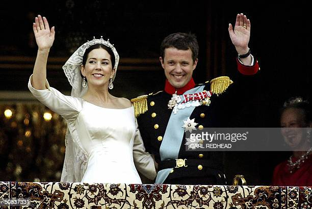 Australian born Crown Princess Mary and Danish Crown Prince Frederik of Denmarkwave to the crowd from the balcony of the Royal Palace of Amalienborg...