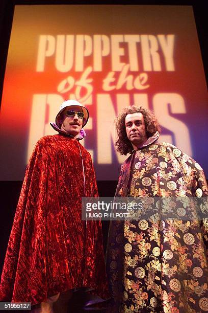 Australian born David Friendly and Simon Morley pose for the camera before they perform their penis tricks at the performance of the show 'Puppetry...
