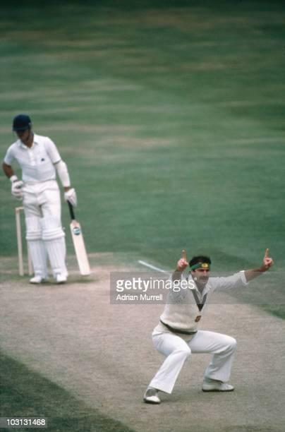 Australian bowler Dennis Lillee has England batsman Geoffrey Boycott out LBW circa 1975