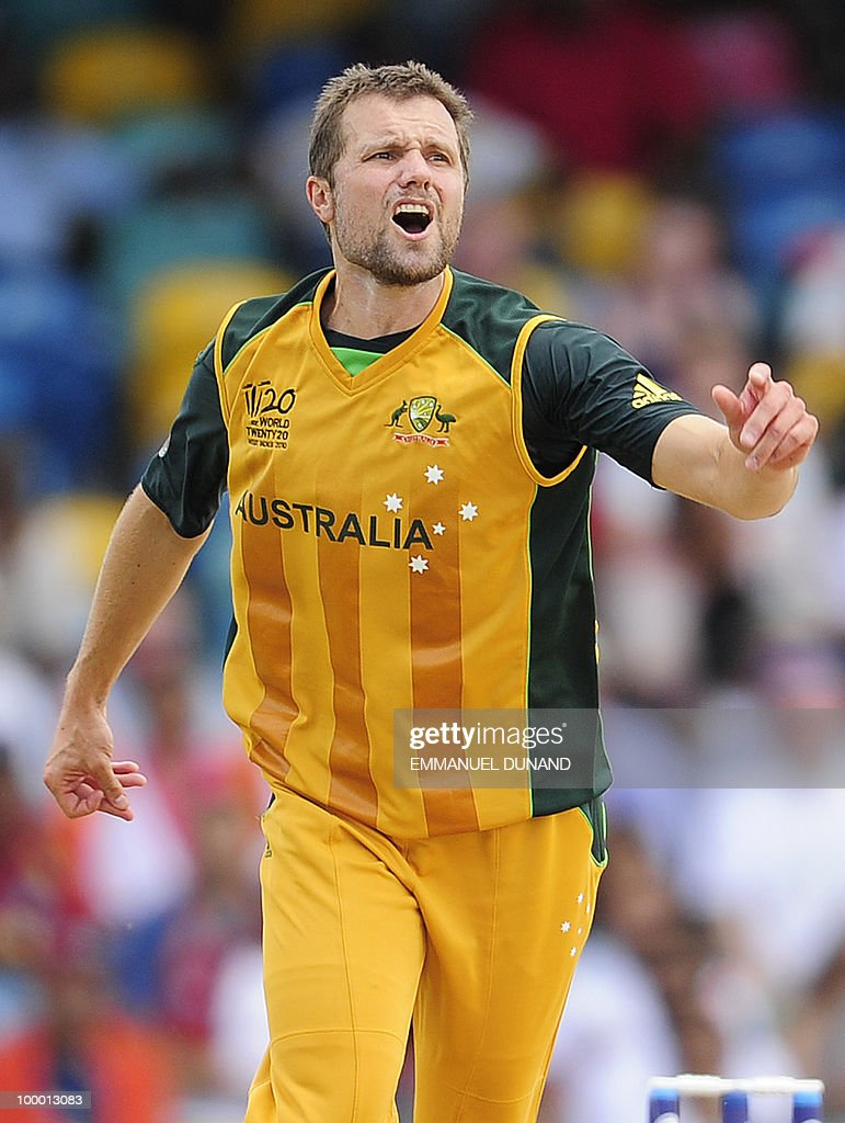 Australian bowler Dirk Nannes reacts during the ICC World Twenty20 Super Eight match between Australia and India at the Kensington Oval on May 7, 2010 in Bridgetown, Barbados. AFP PHOTO/Emmanuel Dunand