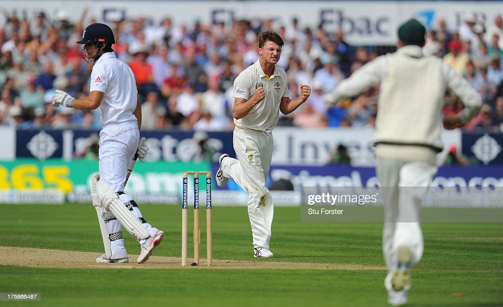 Australian bowler <a gi-track='captionPersonalityLinkClicked' href=/galleries/search?phrase=Jackson+Bird&family=editorial&specificpeople=8665256 ng-click='$event.stopPropagation()'>Jackson Bird</a> (c) celebrates taking the wicket of Alastair Cook during day one of 4th Investec Ashes Test match between England and Australia at Emirates Durham ICG on August 09, 2013 in Chester-le-Street, England.