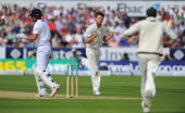 Australian bowler Jackson Bird celebrates taking the wicket of Alastair Cook during day one of 4th Investec Ashes Test match between England and...