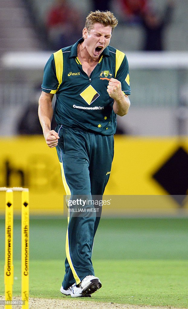 Australian bowler James Faulkner celebrates dismissing West Indies batsman Kieron Pollard in their one-day cricket international played at the Melbourne Cricket Ground (MCG), on February 10, 2013. AFP PHOTO/William WEST IMAGE