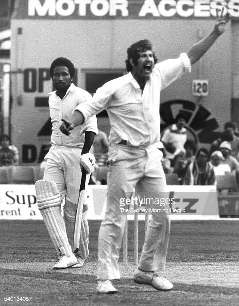 Australian bowler Max Walker appeals unsuccessfully for the lbw of West Indian batsman Andy Roberts during the World Series Cricket Second Supertest...