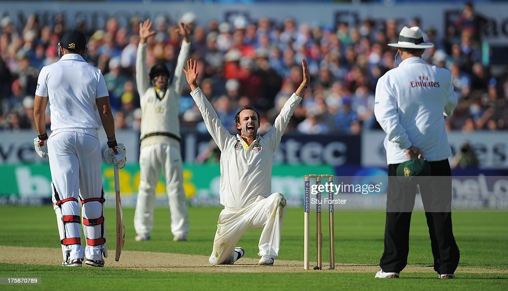 Australian bowler Nathan Lyon appeals with success for the wicket of England batsman Jonny Bairstow after review during day one of 4th Investec Ashes Test match between England and Australia at Emirates Durham ICG on August 09, 2013 in Chester-le-Street, England.