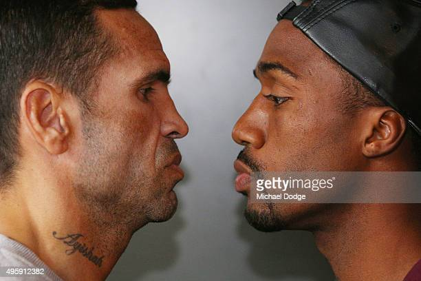 Australian boxer Anthony Mundine and Charles Hatley of the USA come face to face during a press conference at Gasolina Motorcycle Garage and...