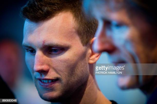 Australian boxer Jeff Horn and coach Glenn Rushton speak during the prefight weighin at the Brisbane Convention Centre in Brisbane on December 12 the...
