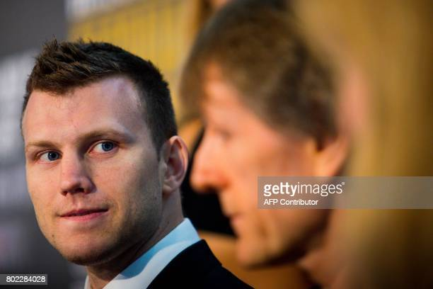 Australian boxer Jeff Horn attends a press conference to promote his upcoming WBO welterweight boxing title fight against Philippine boxer Manny...