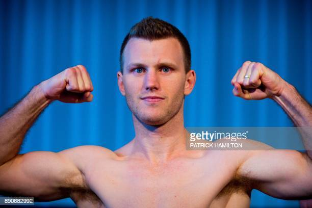 Australian boxer Jeff Horn poses during the prefight weighin at the Brisbane Convention Centre in Brisbane on December 12 the eve of the World Boxing...
