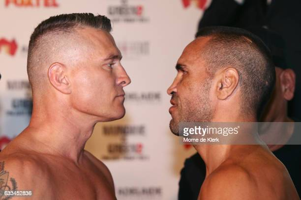 Australian boxers Danny Green and Anthony Mundine face off during the official weigh in ahead of their Friday night bout at Adelaide Oval on February...