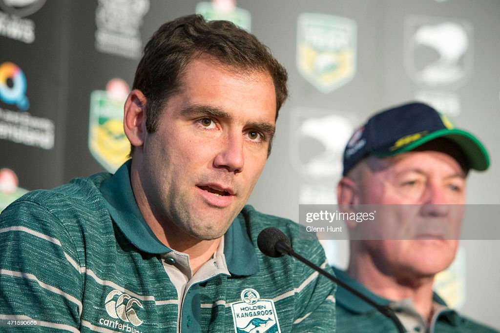 Australian captain Cameron Smith and coach Tim Sheens speak to the media ahead of the international Test match during a press conference at Suncorp Stadium on April 30, 2015 in Brisbane, Australia.
