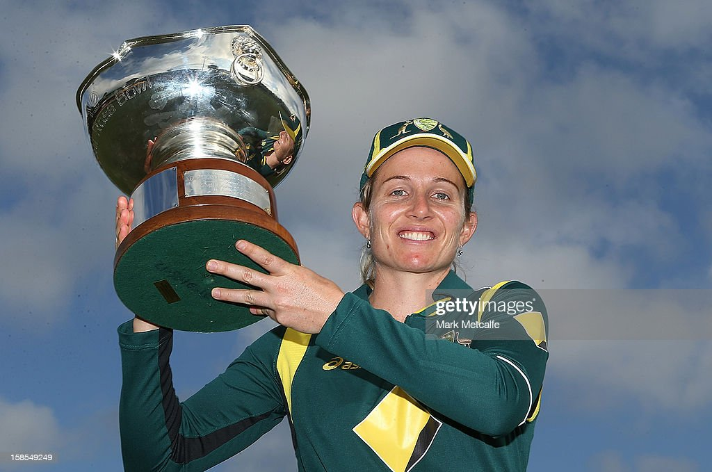 Australian captain <a gi-track='captionPersonalityLinkClicked' href=/galleries/search?phrase=Jodie+Fields&family=editorial&specificpeople=5576479 ng-click='$event.stopPropagation()'>Jodie Fields</a> poses with the Rose Bowl after winning game four of the one day international series between the Australian Southern Stars and New Zealand at North Sydney Oval on December 19, 2012 in Sydney, Australia.
