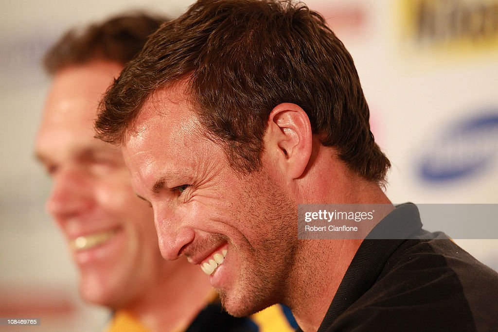 Australian captain <a gi-track='captionPersonalityLinkClicked' href=/galleries/search?phrase=Lucas+Neill&family=editorial&specificpeople=213118 ng-click='$event.stopPropagation()'>Lucas Neill</a> laughs as he talks to the media during an offical pre-match media conference at Khalifa Stadium on January 28, 2011 in Doha, Qatar.