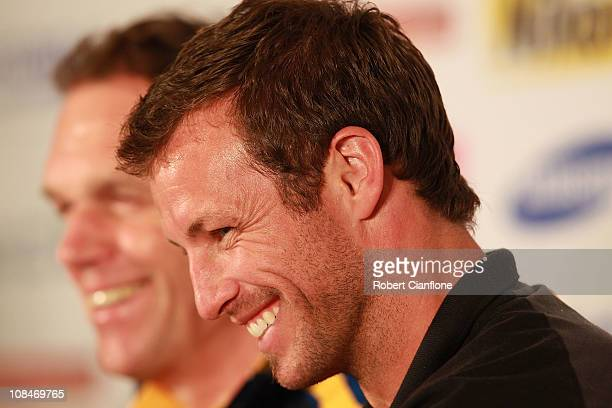 Australian captain Lucas Neill laughs as he talks to the media during an offical prematch media conference at Khalifa Stadium on January 28 2011 in...