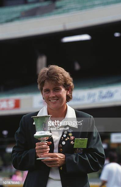 Australian captain Lyn Larsen with the trophy after her team's victory over England in the final of the Women's Cricket World Cup at the Melbourne...