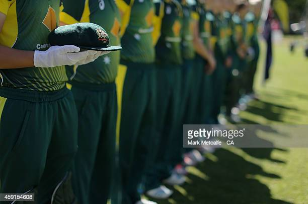 Australian captain Meg Lanning holds the Baggy Green cap of the late Australian Cricket captain Ian Craig before game four of the International One...