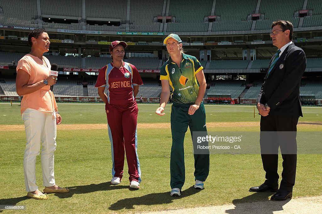Australian captain <a gi-track='captionPersonalityLinkClicked' href=/galleries/search?phrase=Meg+Lanning&family=editorial&specificpeople=5656168 ng-click='$event.stopPropagation()'>Meg Lanning</a> (R) of Australia tosses the coin as West Indies captain <a gi-track='captionPersonalityLinkClicked' href=/galleries/search?phrase=Merissa+Aguilleira&family=editorial&specificpeople=5740699 ng-click='$event.stopPropagation()'>Merissa Aguilleira</a> looks on during game three of the International Women's Twenty20 match between Australia and the West Indies at Melbourne Cricket Ground on November 7, 2014 in Melbourne, Australia.