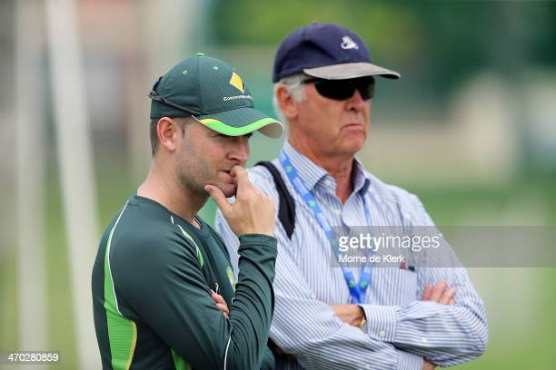 Australian captain Michael Clarke and selector John Inverarity look on during an Australia nets session at St George's Park Cricket Stadium on...