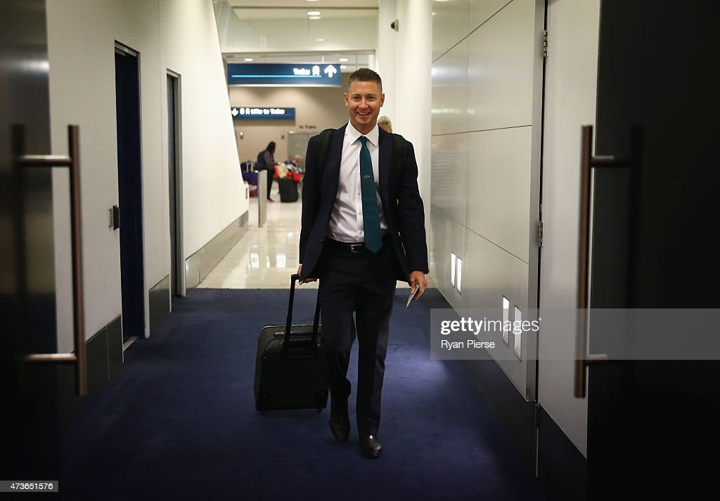 Australian captain <a gi-track='captionPersonalityLinkClicked' href=/galleries/search?phrase=Michael+Clarke+-+Joueur+de+cricket&family=editorial&specificpeople=175853 ng-click='$event.stopPropagation()'>Michael Clarke</a> arrives to talk to the media at a press conference prior to his departure for the Tour of the West Indies, at Sydney International Airport on May 17, 2015 in Sydney, Australia.