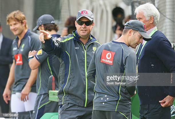 Australian captain Michael Clarke Australian Chairman of Selectors John Inverarity and Australian coach Mickey Arthur talk as Shane Watson pads up...