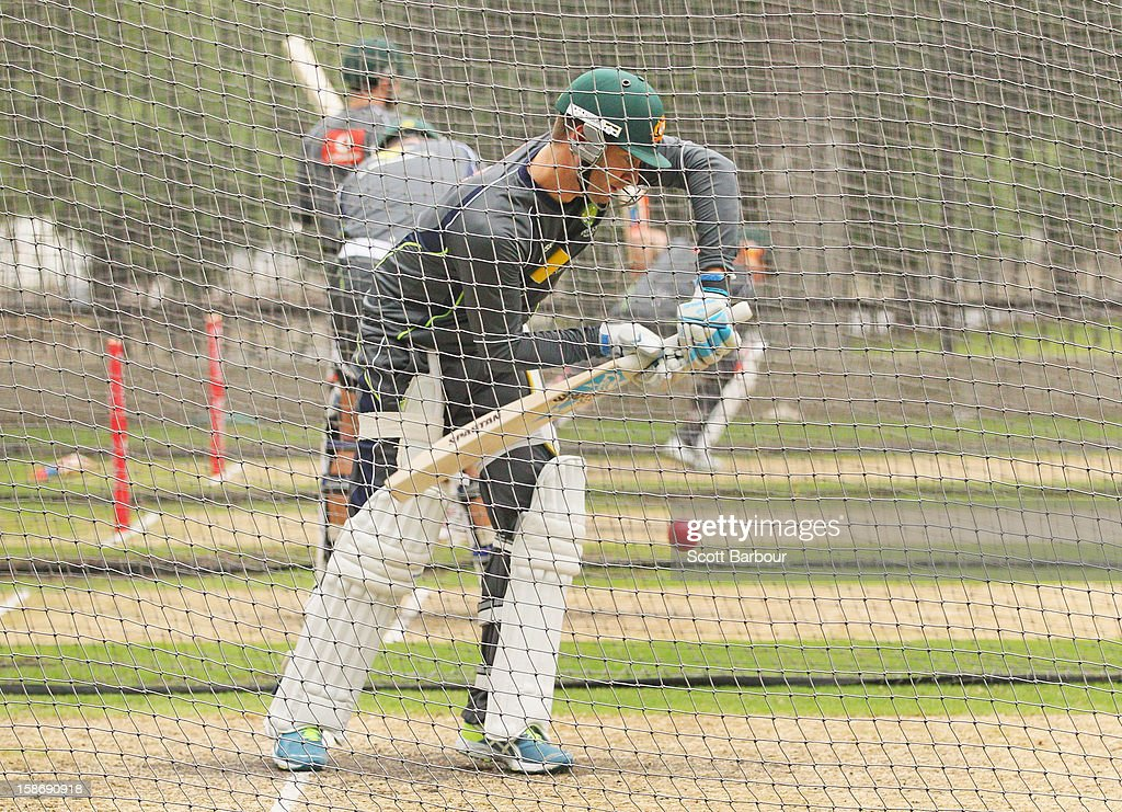 Australian captain Michael Clarke bats during an Australian training session at the Melbourne Cricket Ground on December 24, 2012 in Melbourne, Australia.