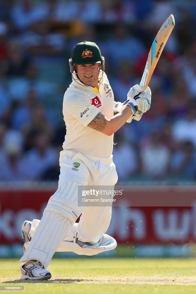 Australian captain Michael Clarke bats during day three of the Second Test Match between Australia and South Africa at Adelaide Oval on November 24, 2012 in Adelaide, Australia.
