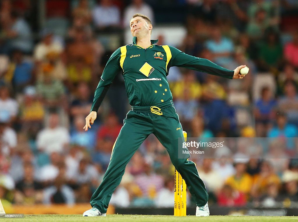 Australian captain Michael Clarke bowls during the Commonwealth Bank One Day International Series between Australia and the West Indies at Manuka Oval on February 6, 2013 in Canberra, Australia.