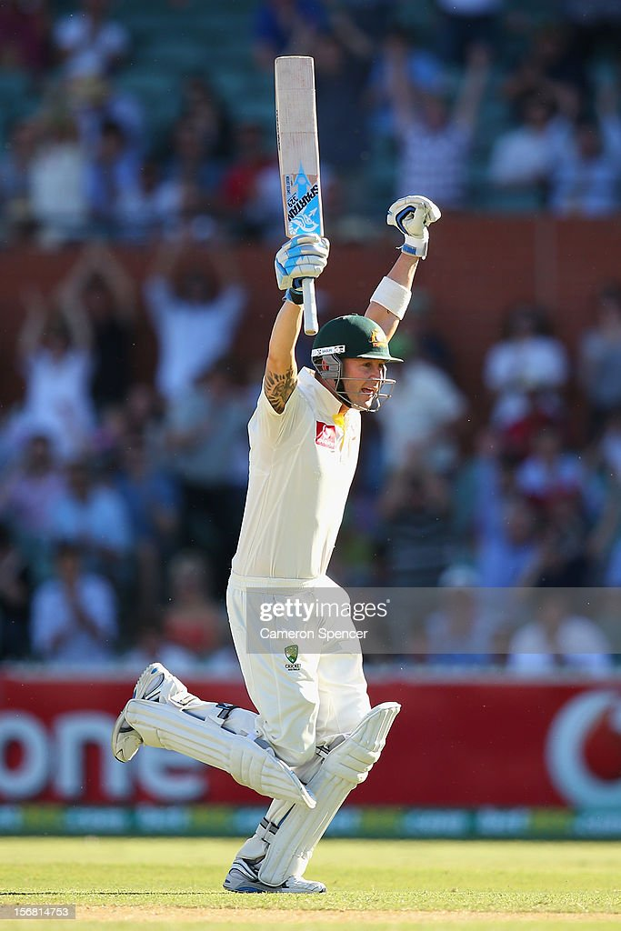 Australian captain Michael Clarke celebrates scoring 200 runs during day one of the 2nd Test match between Australia and South Africa at Adelaide Oval on November 22, 2012 in Adelaide, Australia.