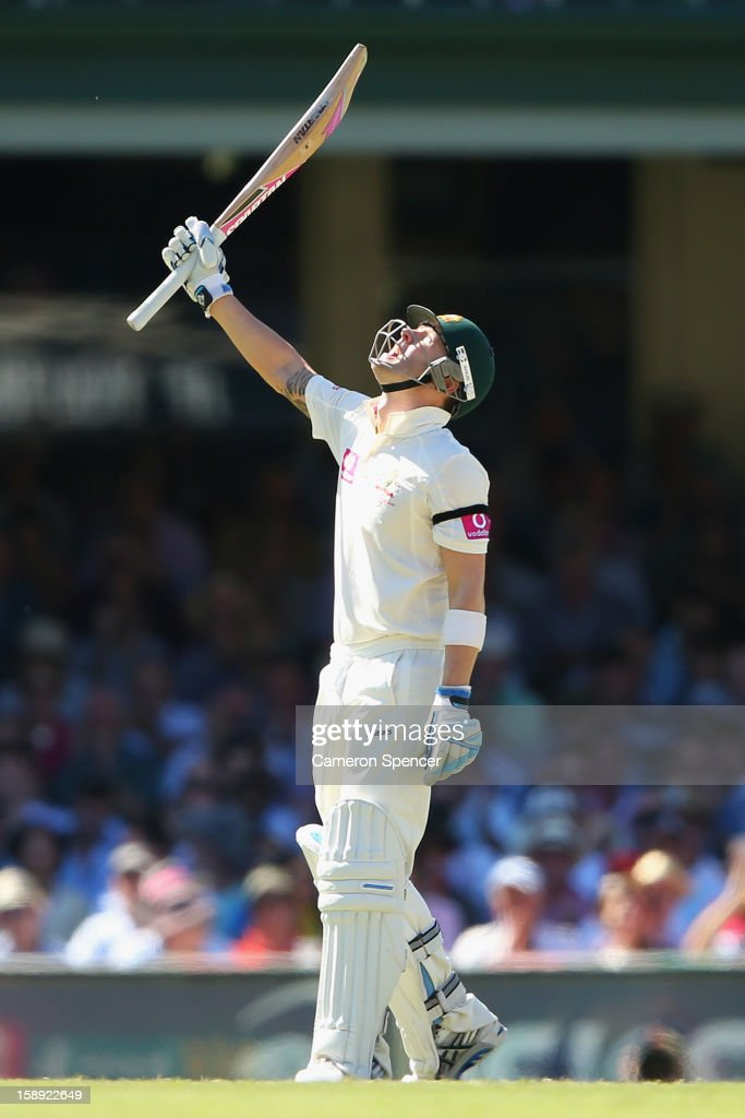 Australian captain Michael Clarke celebrates scoring fifty runs during day two of the Third Test match between Australia and Sri Lanka at Sydney Cricket Ground on January 4, 2013 in Sydney, Australia.