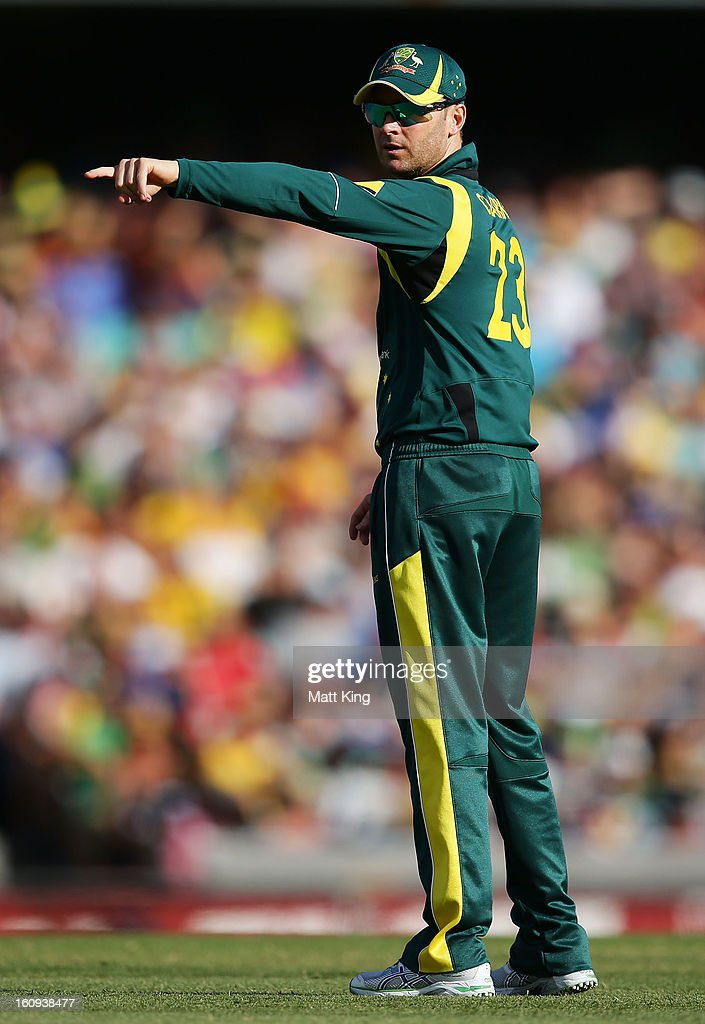Australian captain Michael Clarke directs players during game four of the Commonwealth Bank One Day International Series between Australia and the West Indies at Sydney Cricket Ground on February 8, 2013 in Sydney, Australia.
