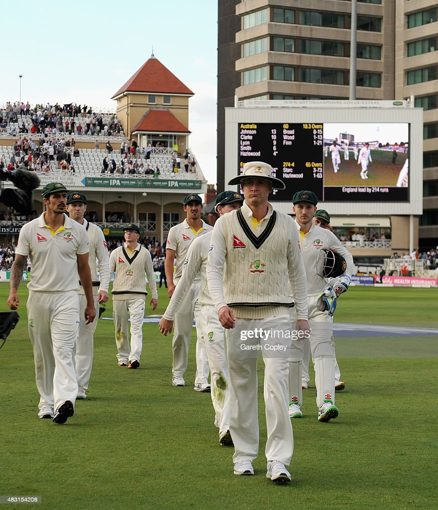 Australian captain Michael Clarke leads his team from the field at stumps on day one of the 4th Investec Ashes Test match between England and Australia at Trent Bridge on August 6, 2015 in Nottingham, United Kingdom.